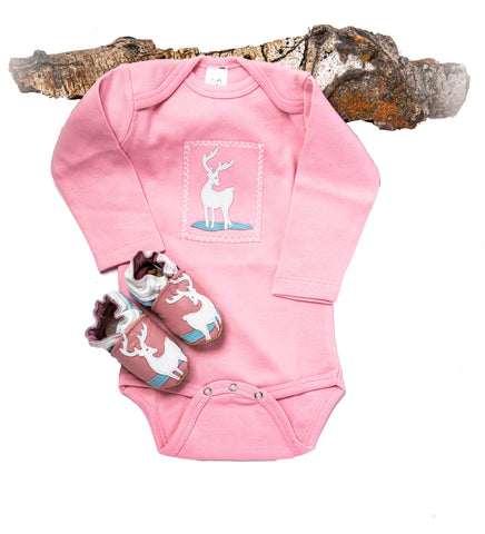 Deer Me! Gift Set (pink onesie and shoes)