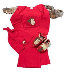 Monkey Business Gift Set (red with matching shoes, top, pant, hat)