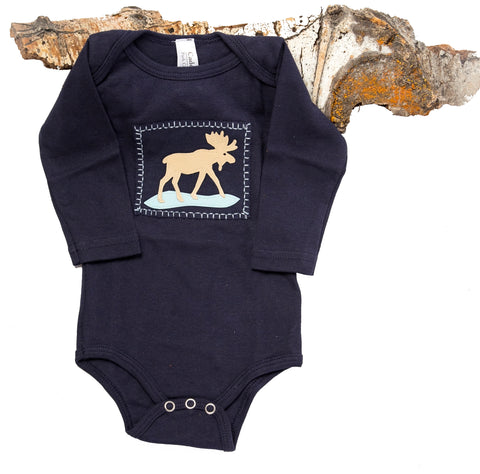 Moosewinkle Onesie (navy long-sleeve)