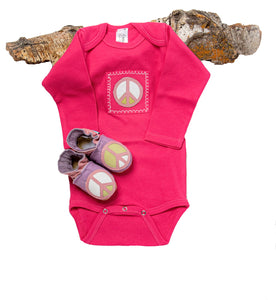 Peace Baby Gift Set (raspberry onesie, lavender shoes)