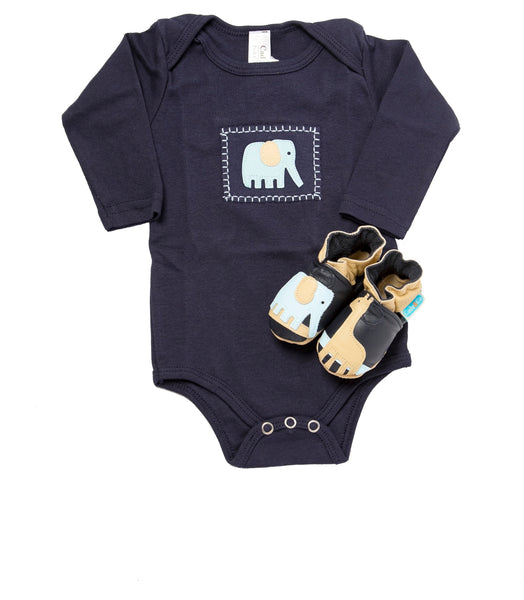 Safari Gift Set (navy onesie and shoes)