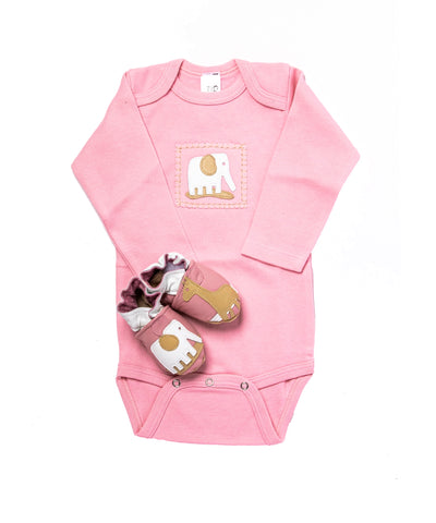 Safari Gift Set (pink onesie and shoes)