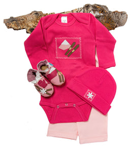Ski Patrol Gift Set (pink with matching shoes, onesie, pant, hat)