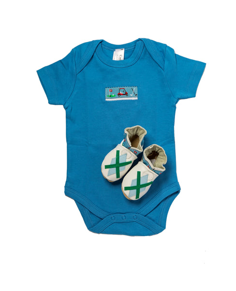 Tee Time Gift Set (true blue onesie, white shoes)