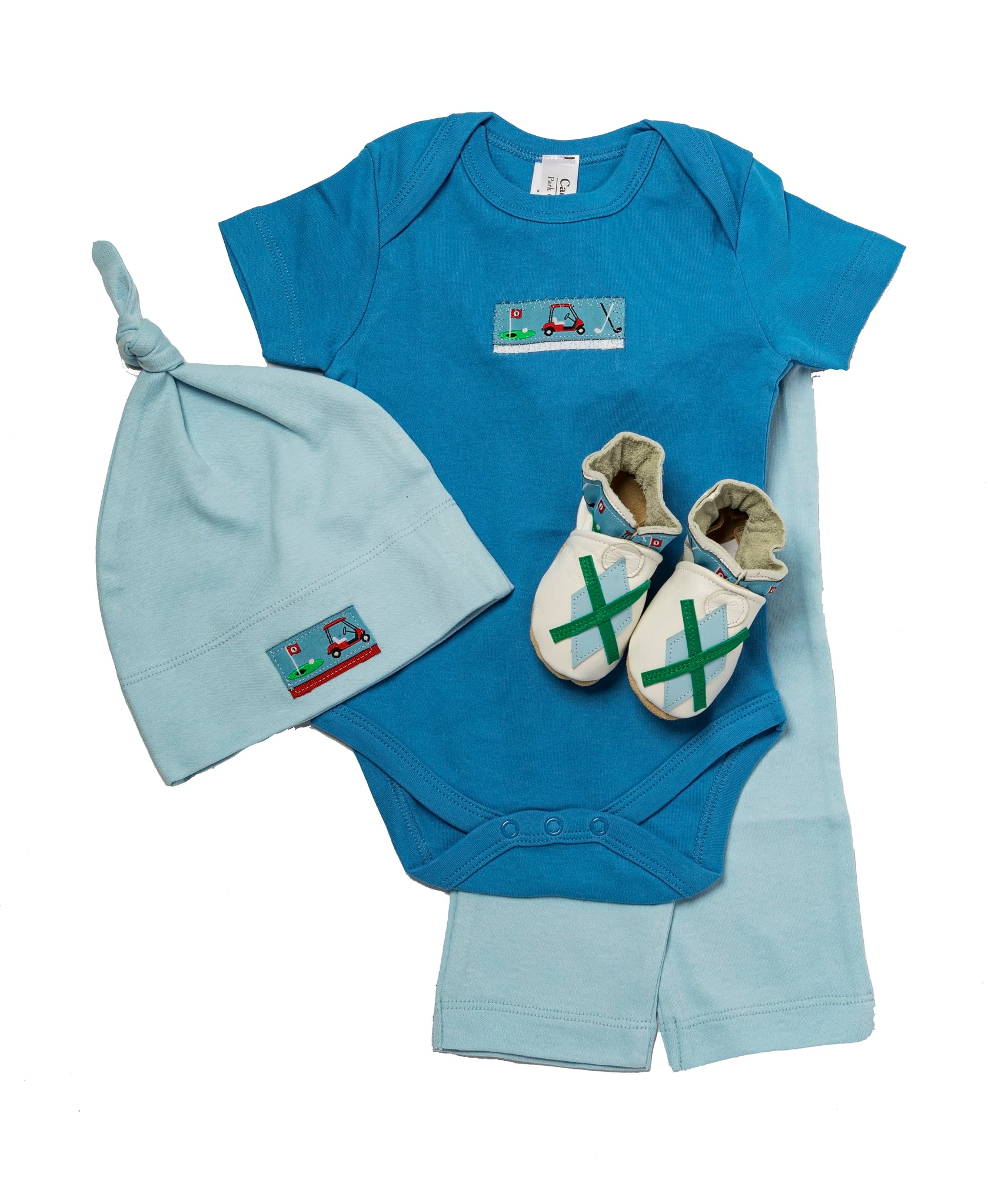 Tee Time Gift Set (blue with matching shoes, short sleeved onesie, pant, hat)