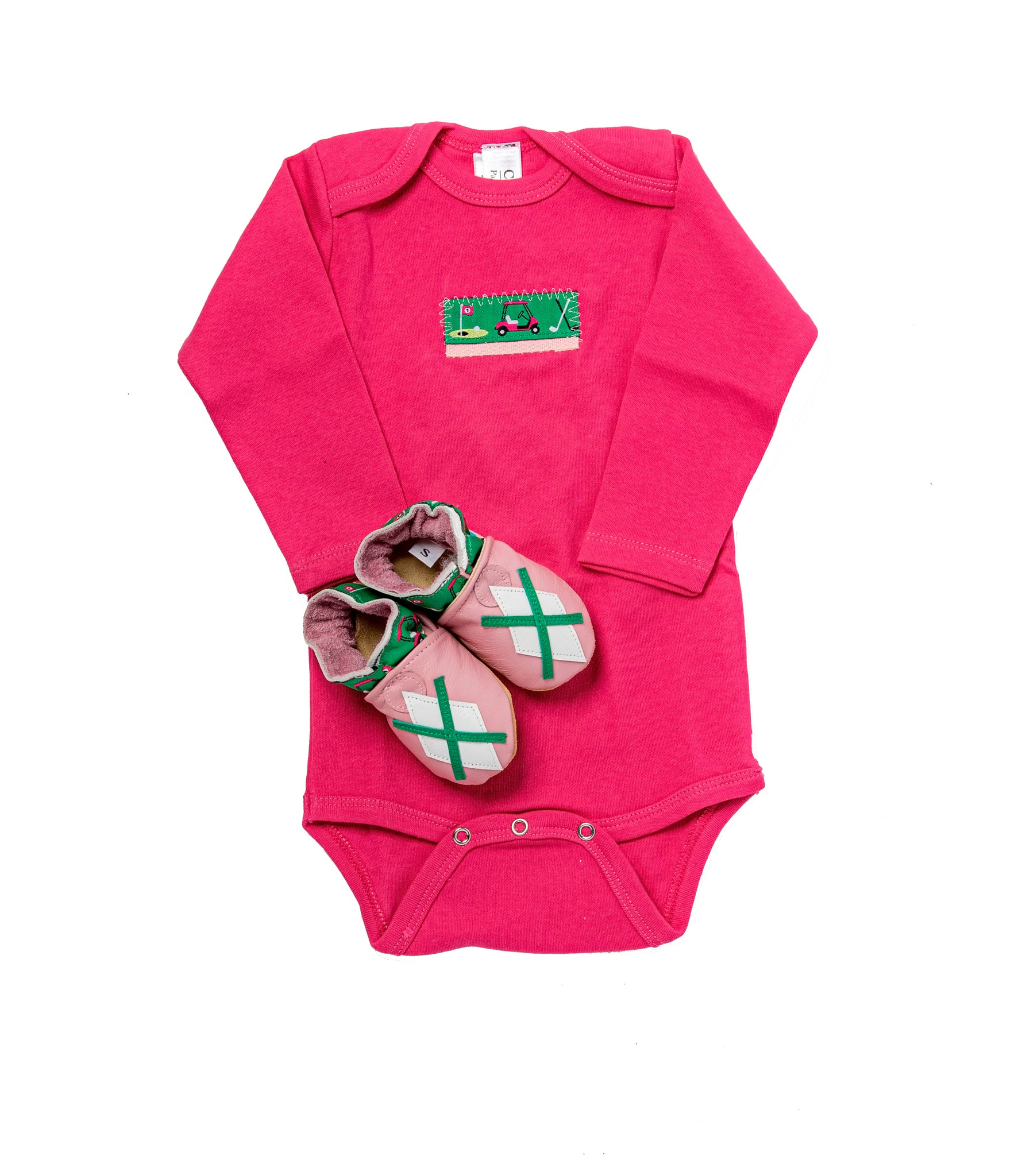 Tee Time Gift Set (raspberry onesie, pink and green shoes)
