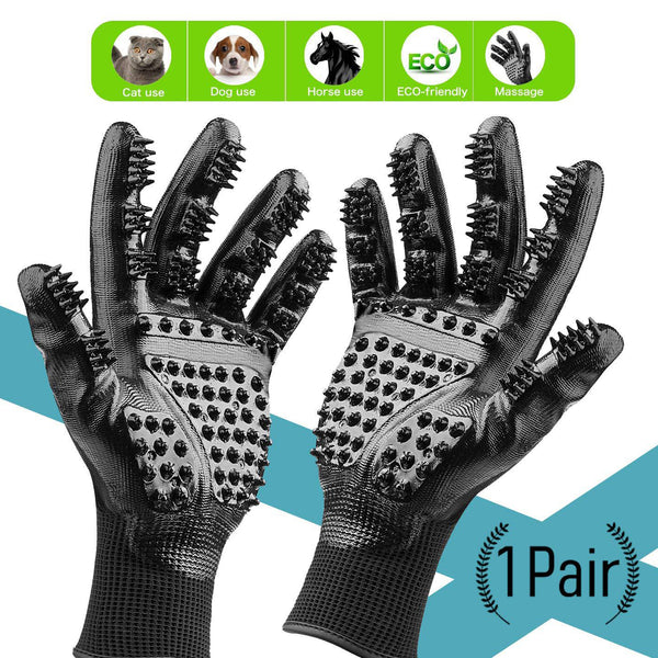 Pet Grooming Gloves Brush for Cats, Dogs, and Horses