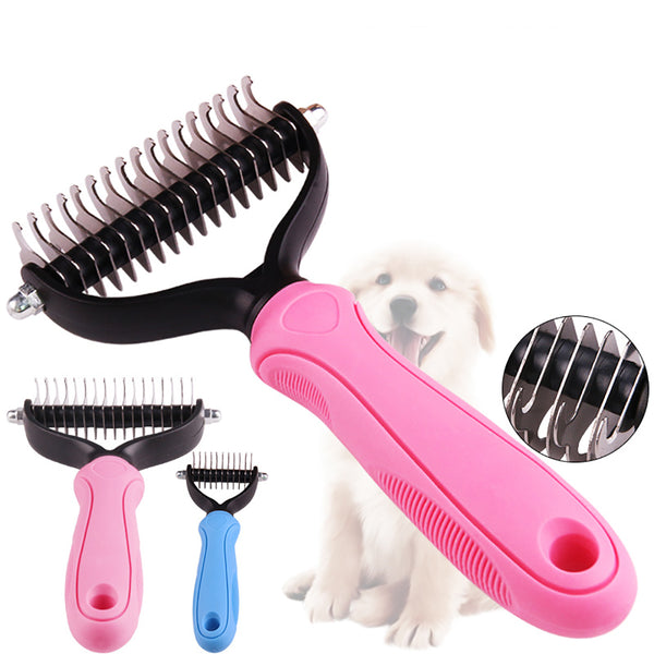 Pet Grooming Brush - Double Sided Shedding and Dematting Undercoat Rake Comb for Dogs and Cats