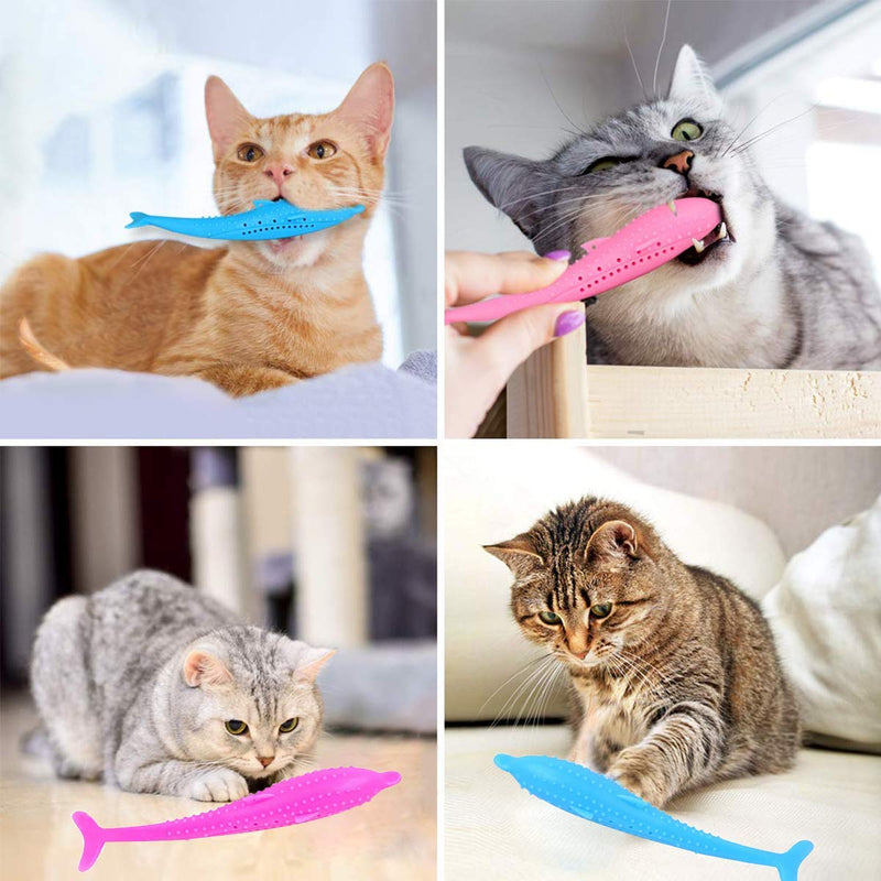Cat Toothbrush Refillable Catnip Simulation Fish Silicone Teeth Cleaning Massager