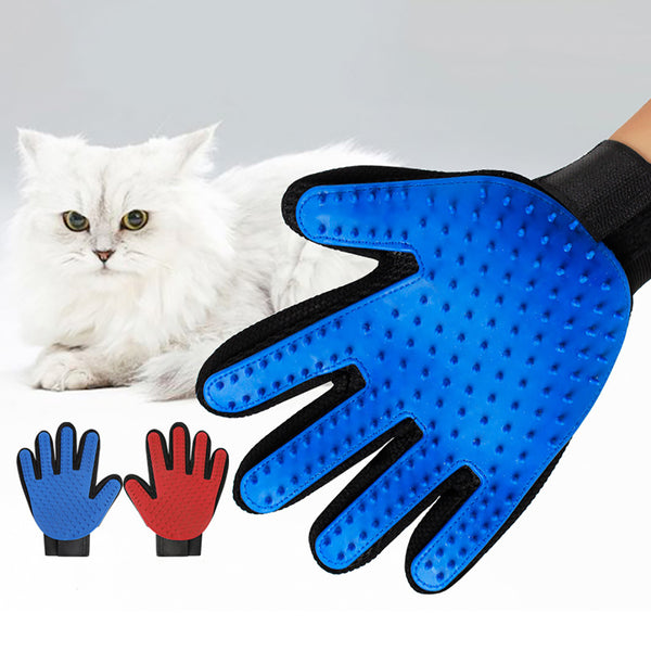 Pet Grooming Glove Dogs Cats Gentle Deshedding Brush Gloves