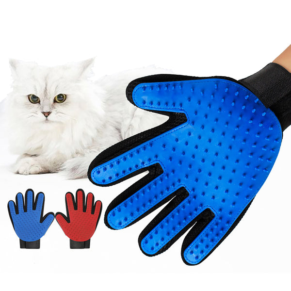 Pet Grooming Glove Cats Dogs Gentle Deshedding Brush Gloves