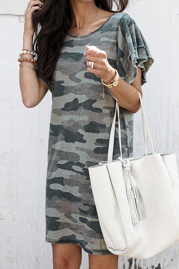 Flounce Sleeve Camouflage Round Neck Casual Wear Dress