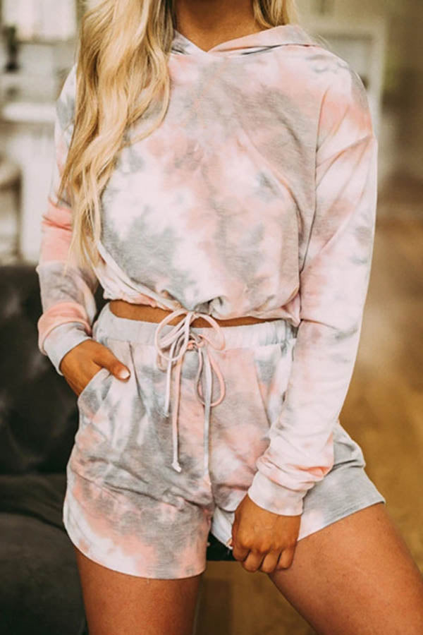 Long Sleeve Tie Dye Hooded collar Casual Wear Short Set