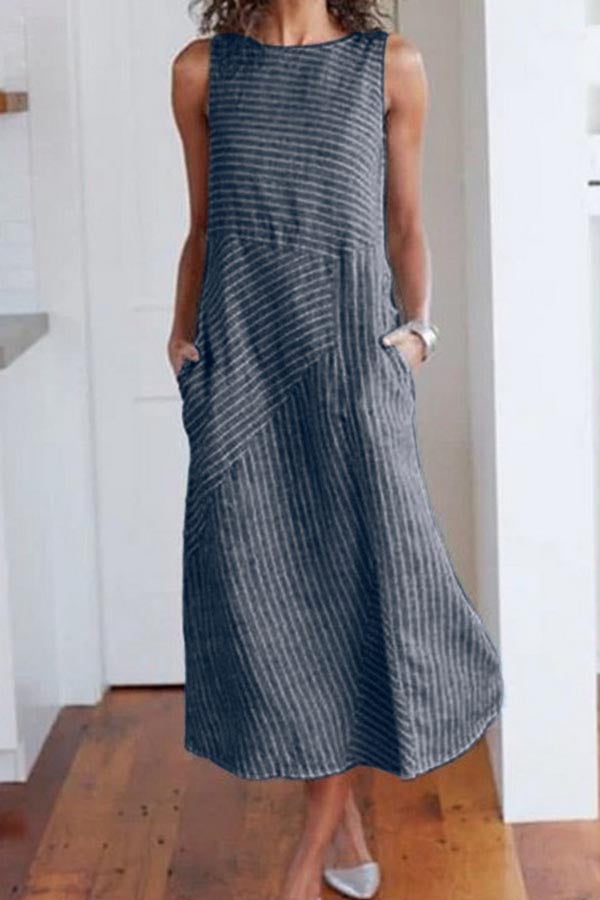 Striped Round Neck Casual Wear Dress