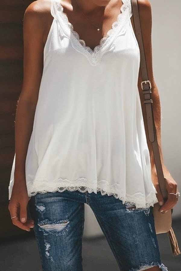 Sleeveless Solid Color V Neck Lace Vest