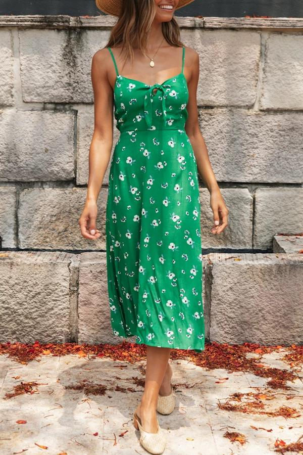 Floral Print Green Sling Mid Dress