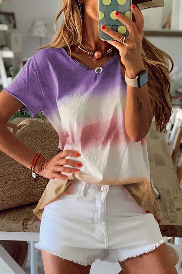 Short Sleeve Tie Dye Round Collar Casual T-Shirt