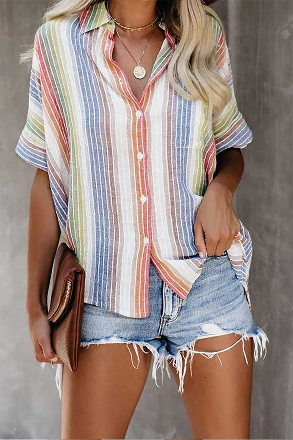 Striped Turtle Neck Casual Wear Shirt