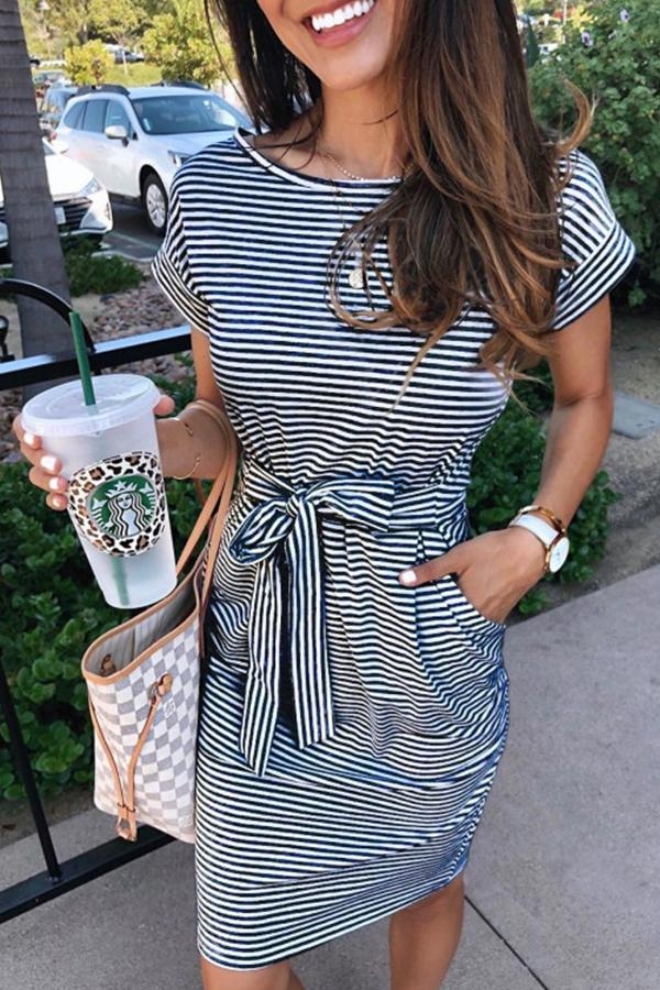 Short Sleeve Pinstripe Round Neck Casual Wear Dress