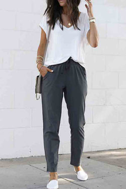 Regular Solid Color Regular Fit Casual Wear Pants