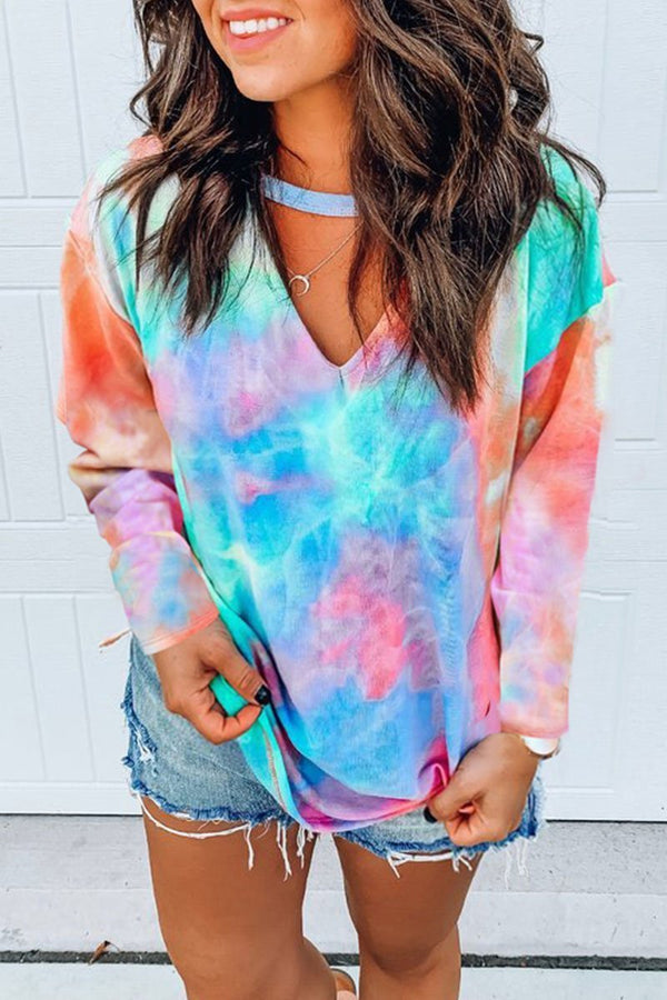 V Neck Tie dye Printed Multicolor T-shirt