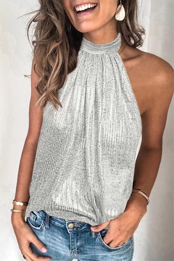 Sleeveless Sequined Strapless Casual Wear Vest