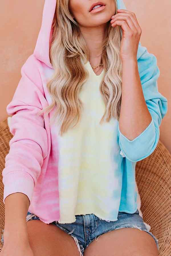 Long Sleeve Tie Dye Hooded collar Casual Wear Hooded Top