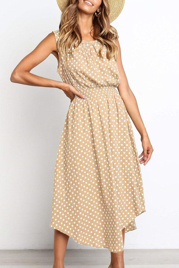 Sleeveless Polka Dot Round Collar Casual Wear Dress