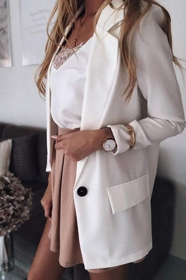 Long Sleeve Solid Color Button Suit