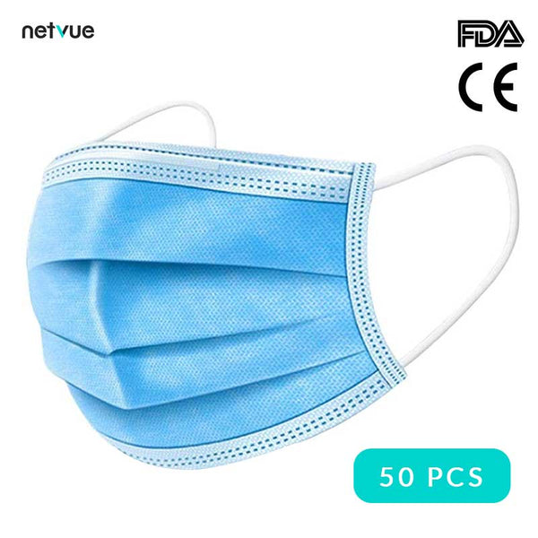 Máscaras faciales protectoras desechables (50 uds) - Ce & FDA Certified 3-Layer Masks (Azul)