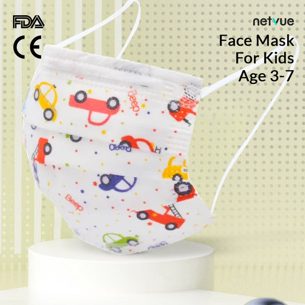 50/100 pcs Disposable Face Masks for Kids (3-7) with Car Pattern