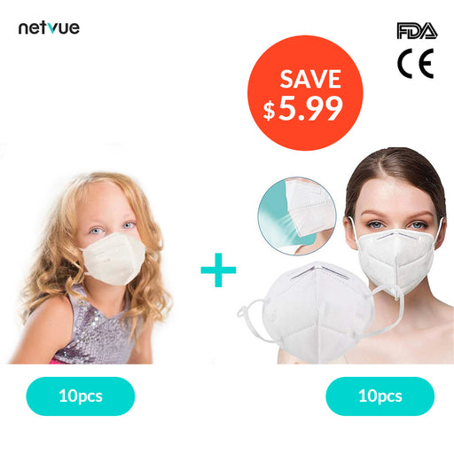 10pcs Kid KN95 Face Masks (Age 3-12) & Adult KN95 Face Masks 10pcs - netvue