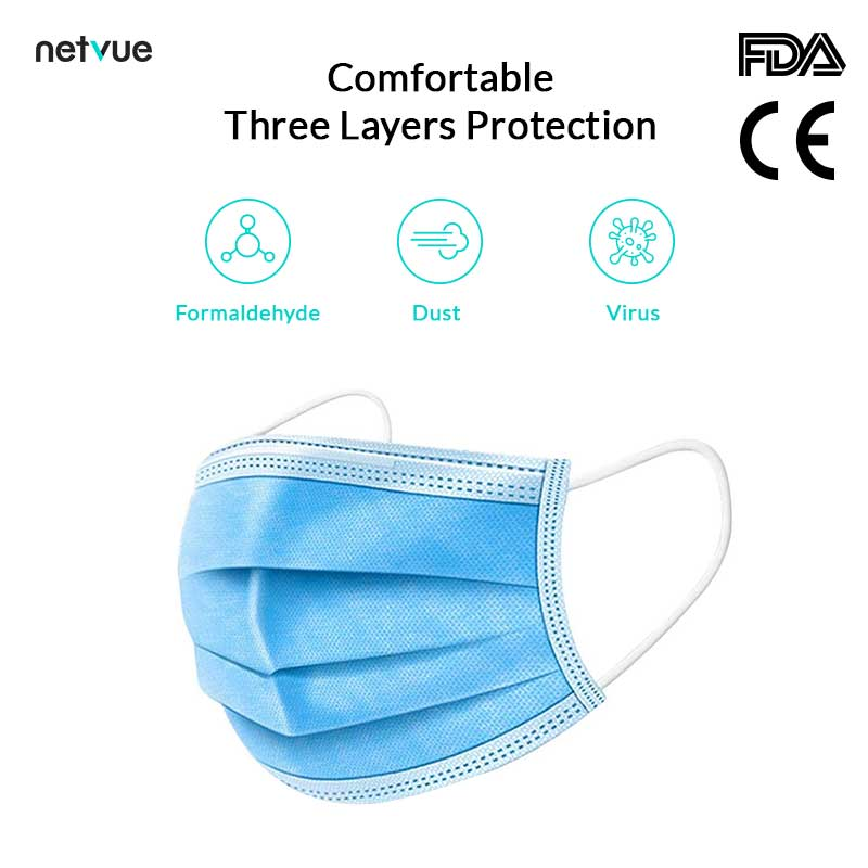 Disposable Protective Face Masks (50 PCS) 3-Layer (Free Duty & Shipping)
