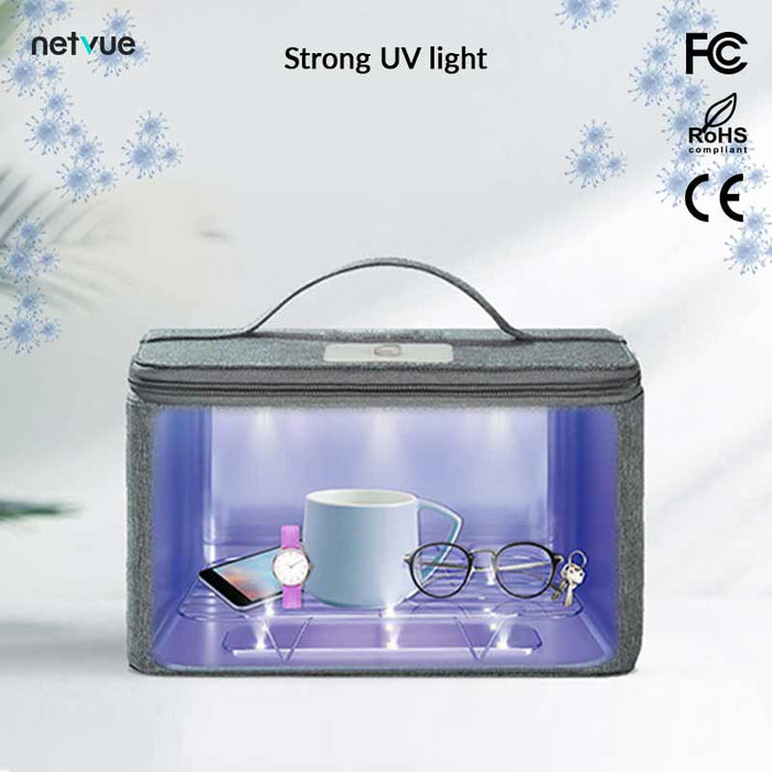 Multifunctional UV Disinfection Package | LED Light Sanitizer Bag (Gray) - netvue