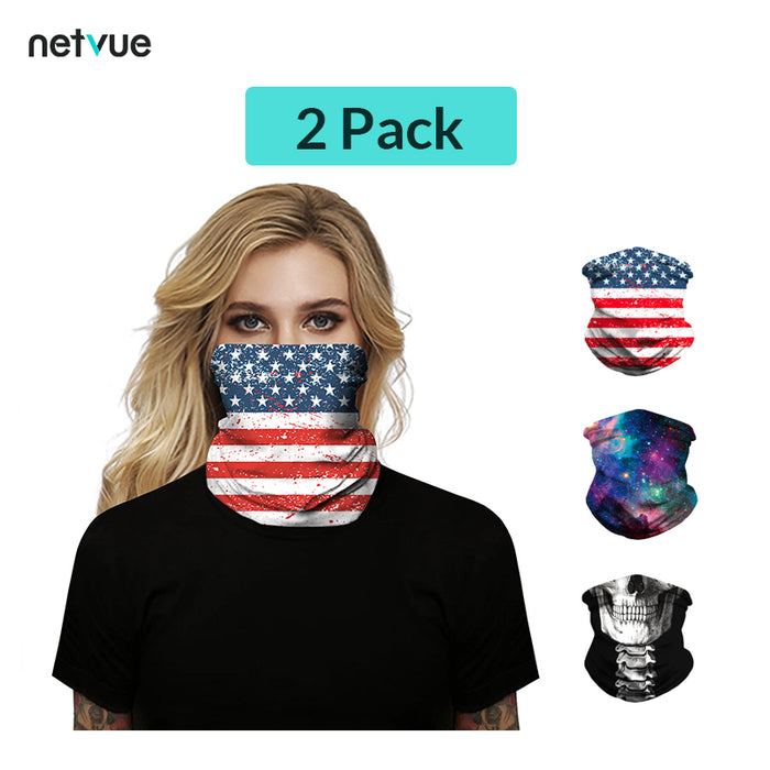 2 Pack High Elasticity Face Mask Face Bandana Balaclava UV Protection for Halloween For Gifts