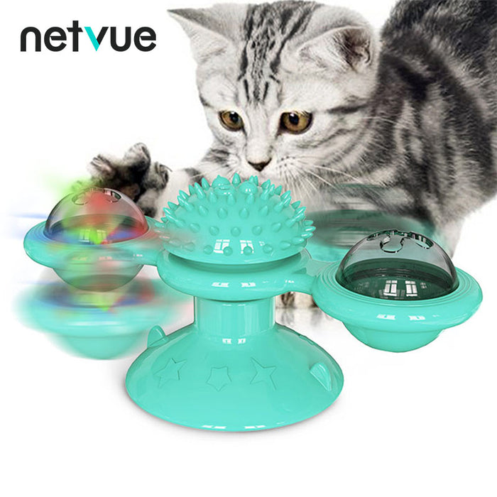 Windmill Cat Toy with Led Ball and Catnip Ball (Lake Blue) - netvue