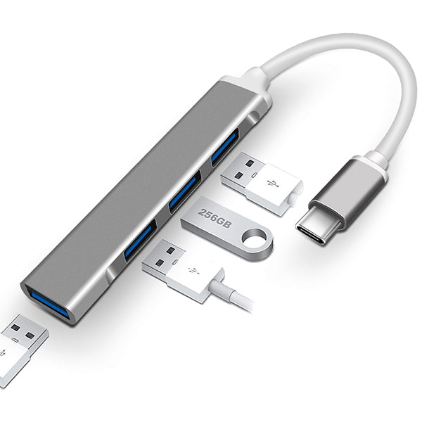 Portable 4-in-1 USB-C Hub Aluminum Alloy USB Type-C to USB Hub Adapter for MacBook iPad Pro XPS and More - netvue