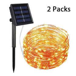 Solar String Lights Outdoor with 8 Modes (Warm White) 2-Pack Each 72FT 200 LED