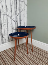 Load image into Gallery viewer, Set of two copper/ blue gloss side tables