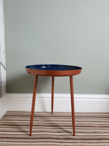 Set of two copper/ blue gloss side tables