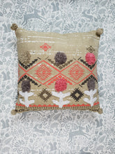 Load image into Gallery viewer, Green Boho Pom Pom Cushion