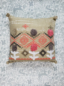 Green Boho Pom Pom Cushion