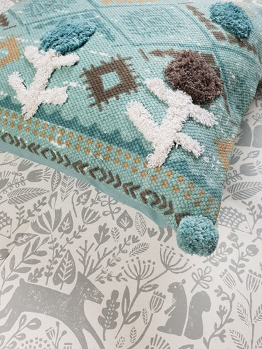 Blue Boho Pom Pom Cushion