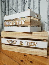 Load image into Gallery viewer, Set of two 'Neat & Tidy' Wooden Storage Crates