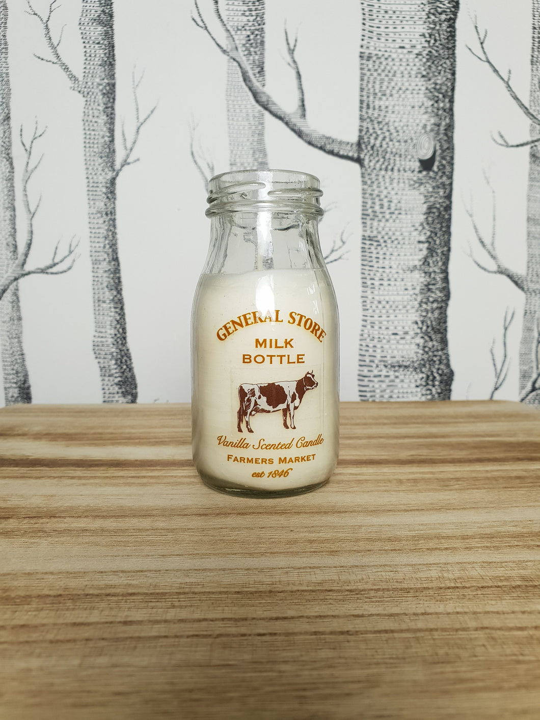 Glass Milk Bottle Vanilla Candle