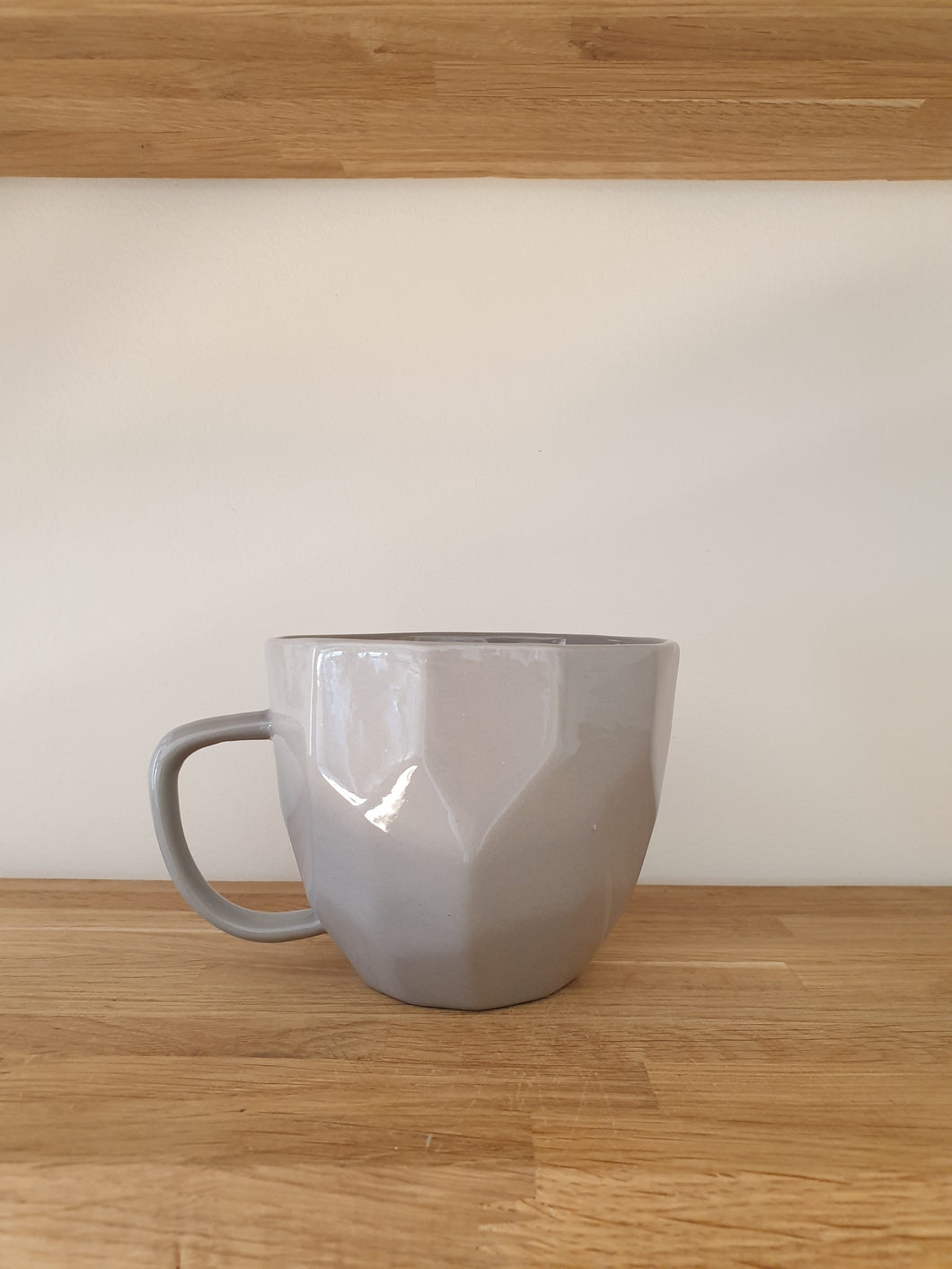 Liv Interiors Grey Ceramic Cubic Mug