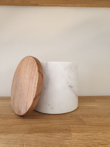 Small Marble Wooden Storage Jar