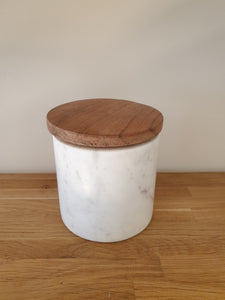 Small White Marble Wooden Storage Jar/ plant pot