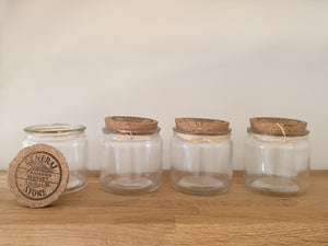 Set of Four Cork Lid Glass Jars