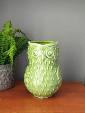 Green Ceramic Owl vase